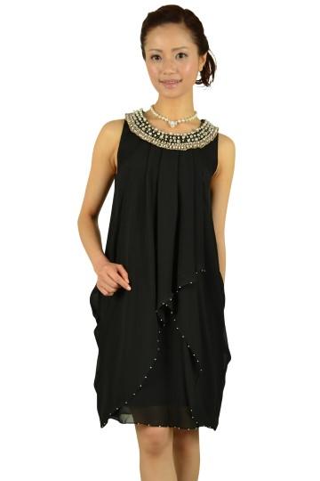 ノースリーブブラックビジュドレス