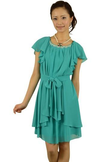 エメラルドグリーンミニ袖ドレス