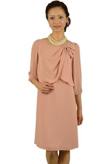 7分袖ピンクカラードレス