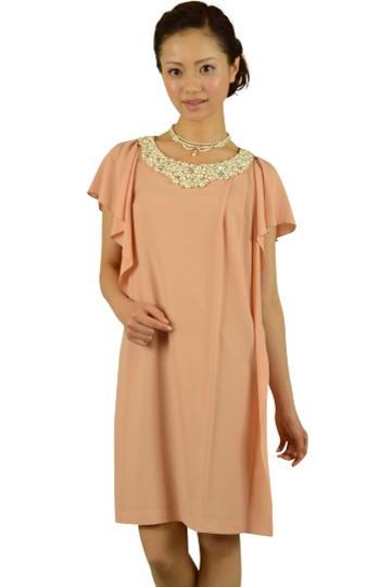 ピンクミニ袖ビジュドレス
