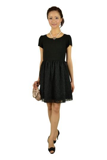 切り替えミニ袖ブラックドレス