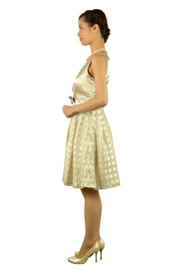 格子フィットアンドフレアベージュドレス