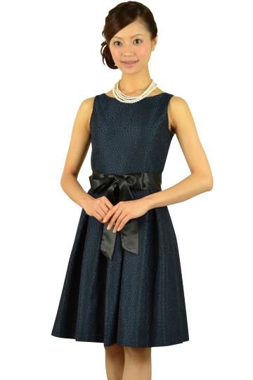 サークル柄刺繍ネイビードレス