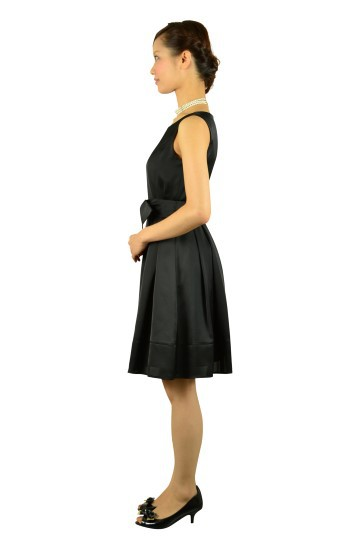 ブラック光沢リボンドレス