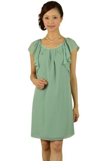 グリーンミニ袖ドレス