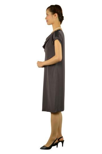 ブラウングレーゆったりドレス