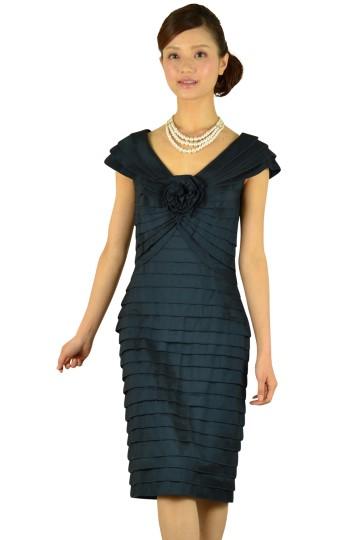 上質ネイビーVネックドレス