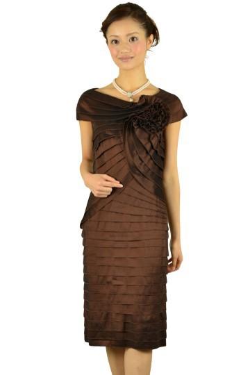 上質ブラウンティアードドレス