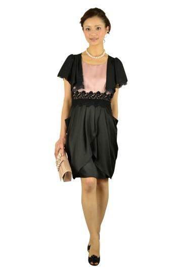 ピンクミニ袖バイカラードレス