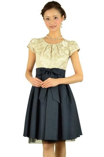 異素材MIXネイビースカートドレス