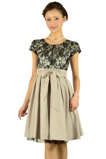 異素材MIXベージュスカートドレス