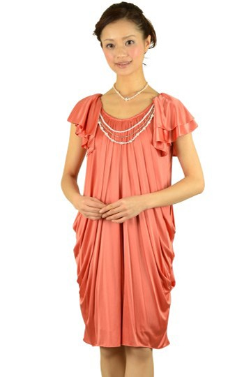 オレンジミニ袖ドレス