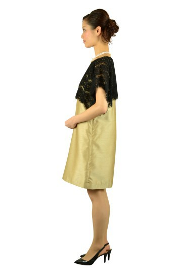 レースシャンパンミニ袖ドレス