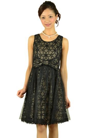 フラワーブラックドレス