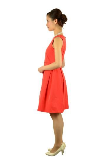 レッドオレンジタックドレス