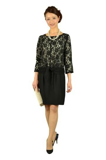 7分袖ブラックレースドレス