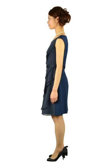 ランダムフリルネイビードレス