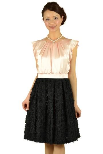 パールピンク×ブラック切り替えドレス