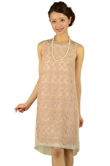 刺繍シフォンベージュドレス
