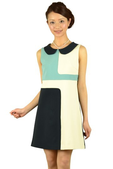 ブルー幾何学柄ドレス