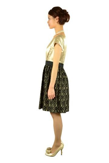 ミニ袖シャンパンレースドレス