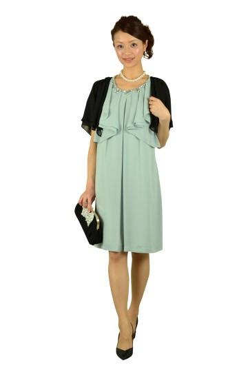 ミルキーグリーンラッフル袖ドレス