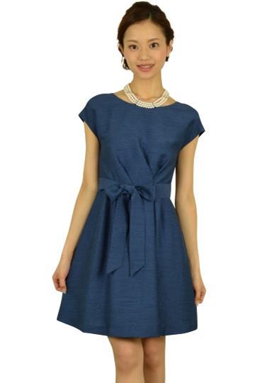 ネイビーシャンタンミニ袖ドレス