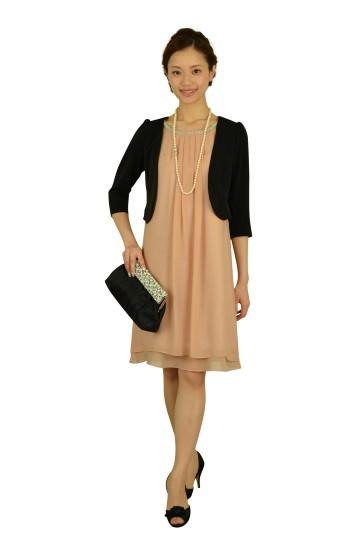 ピンクベージュゆったりドレス