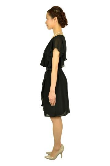 ブラックウエストマークミニ袖ドレス