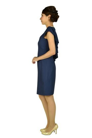 ミニ袖付きビジュネイビードレス