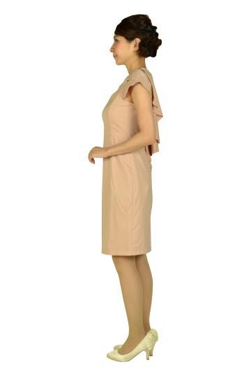 ミニ袖付きビジュピンクドレス
