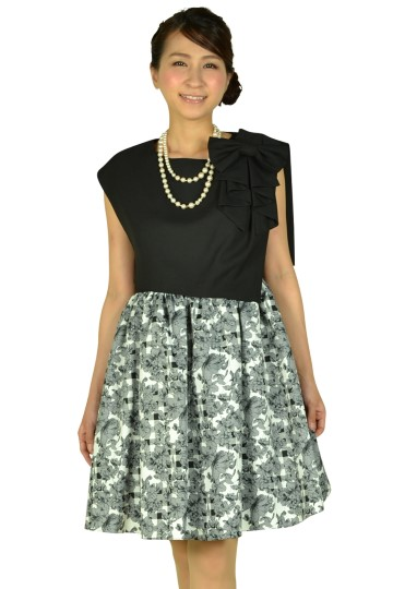 フラワースカートブラックドレス