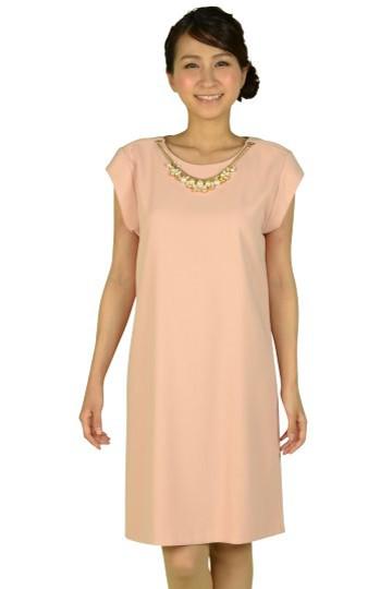 フレンチスリーブピンクドレス