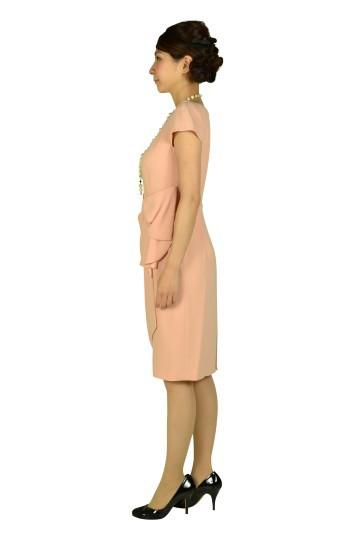 タック付シンプルピンクドレス
