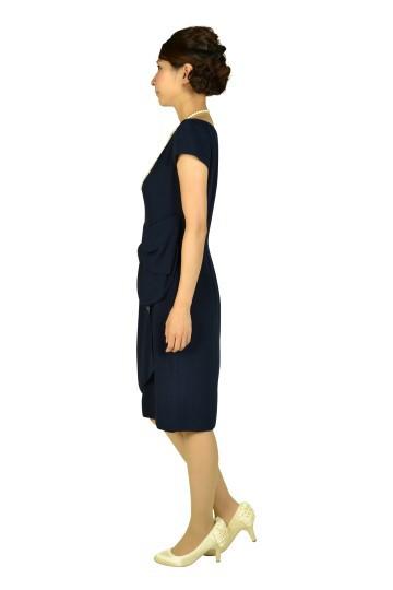 タック付シンプルネイビードレス