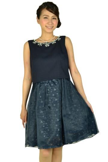 ネイビーチュールスカートドレス