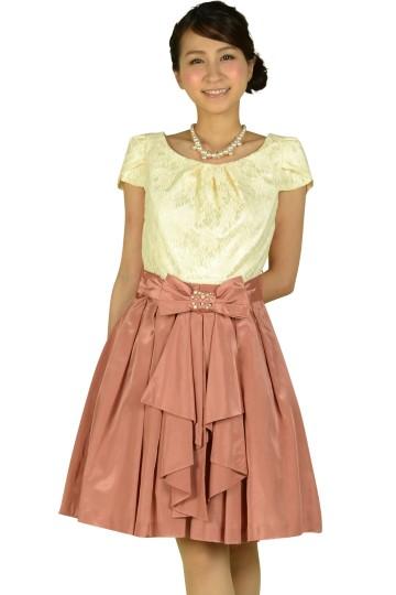 アイボリー×ピンクリボンドレス