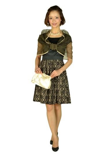 ミニ袖ブラックレースドレス
