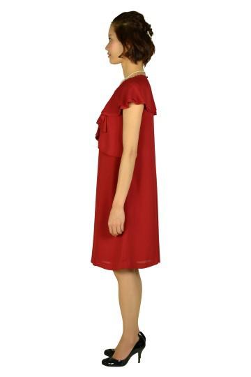 ボルドーラッフル袖ドレス