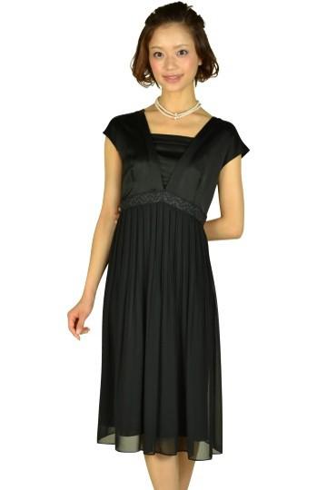 ブラックミディ丈ドレス