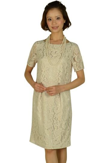 袖付きベージュピンクレースドレス
