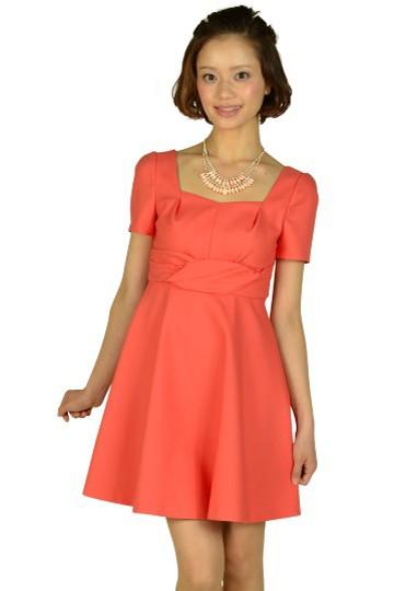 スクエアネックオレンジドレス