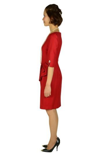 7分袖ビジュレッドドレス