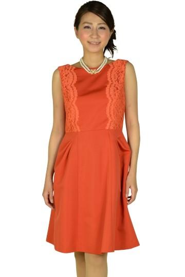 フィットアンドフレアレースオレンジドレス
