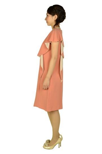 アシメミニ袖オレンジドレス