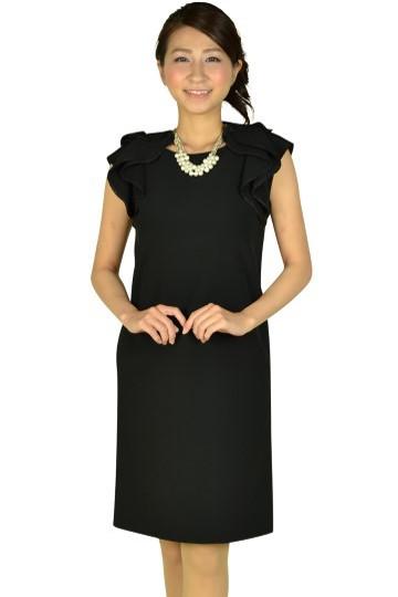 ショルダーフリルブラックドレス