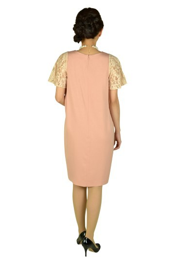 ジョーゼットピンク袖レースドレス