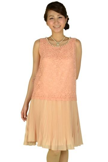 レースプリーツピンクドレス