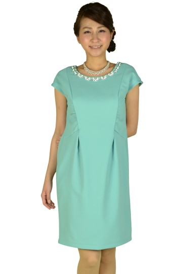 フラワービジュタックグリーンドレス
