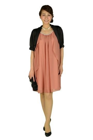 ゆったりピンク袖付きドレス